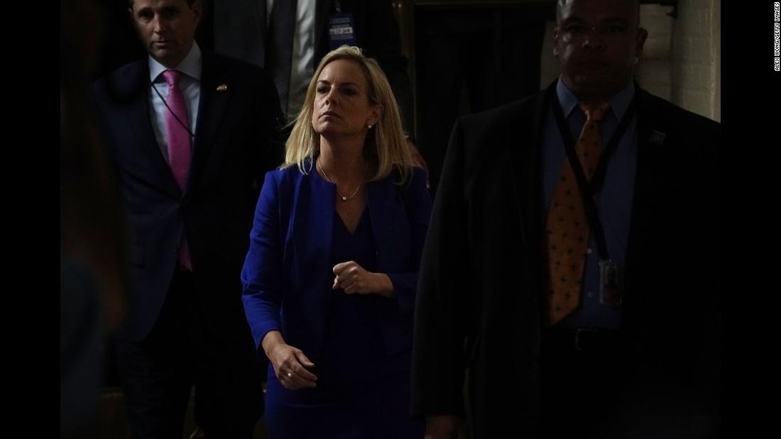 "US Secretary of Homeland Security Kirstjen Nielsen leaves after a meeting with House Republicans on Wednesday, June 20. Nielsen has become one of the faces of the Trump administration's ""zero-tolerance"" immigration policy. ""We will not apologize for the job we do or for the job law enforcement does for doing the job that the American people expect us to do,"" <a href=""https://www.cnn.com/2018/06/18/politics/kirstjen-nielsen-immigration-policy/index.html"" target=""_blank"">she said Monday.</a> ""Illegal actions have and must have consequences. No more free passes, no more get-out-of-jail-free cards."""