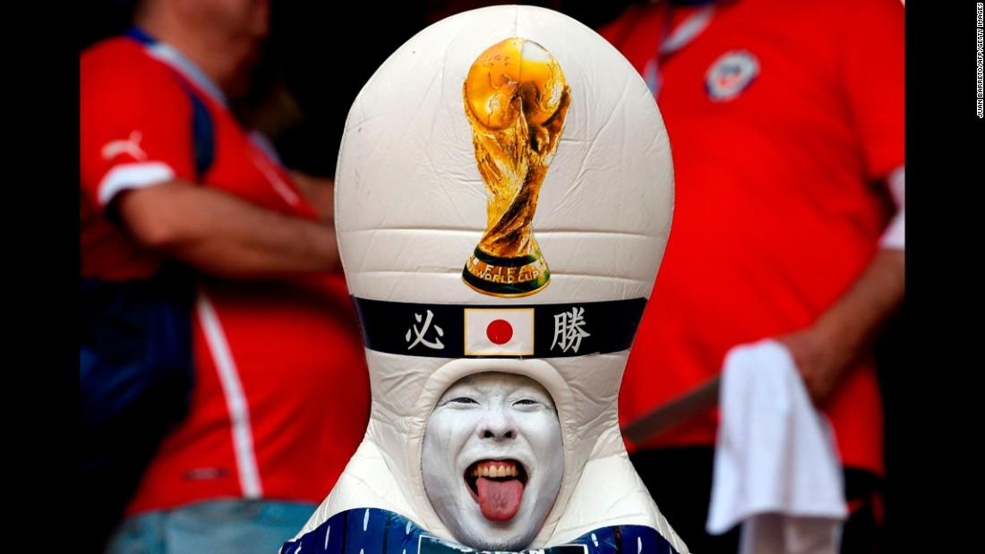 "A costumed Japan fan sticks out his tongue before the country's World Cup soccer match against Colombia on Tuesday, June 19. <a href=""https://www.cnn.com/2018/06/14/football/gallery/world-cup-2018/index.html"" target=""_blank"">See the best photos of the 2018 World Cup</a>"