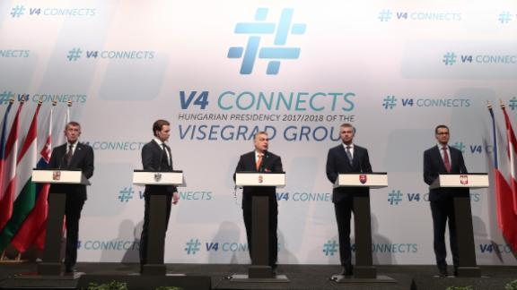 Czech, Austrian, Hungarian, Slovakian and Polish leaders at a meeting of the Visegrad Group.