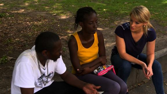 Demetrius Philips and his wife, Shamika Harper, talk with CNN