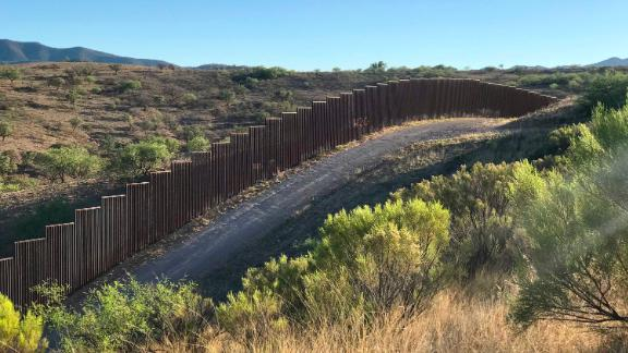 US Customs and Border Protection patrol the US-Mexico border area near Tucson, Arizona, one day after President Trump