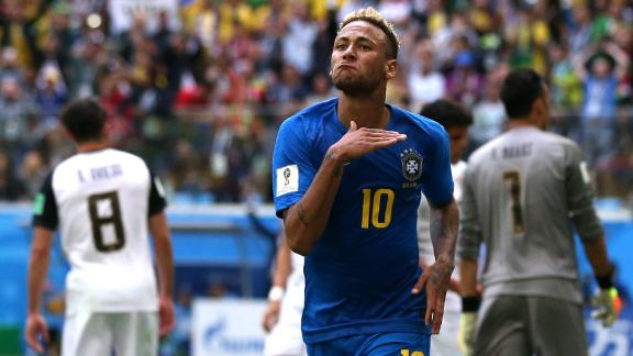 Neymar celebrates his last-second goal that finished off Brazil