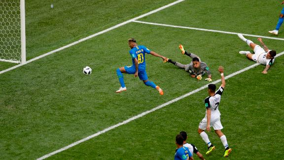 Neymar taps in his goal late in the match.