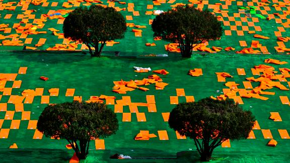 Dehradun, India: Mats are laid out in the Uttarakhand capital ahead of International Day of Yoga on June 21.