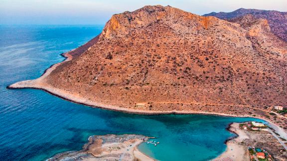 """Chania, Crete: A few kilometers from the city of Chania on the Greek island of Crete, Stavros Beach was the filming location for the celebrated dance scene in the 1964 film """"Zorba the Greek."""""""