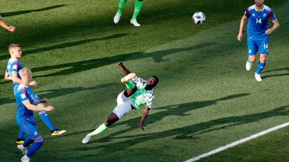Nigerian midfielder Oghenekaro Etebo kicks the ball during a 2-0 victory over Iceland on June 22.