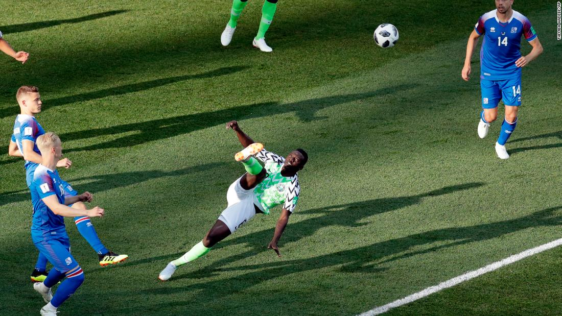Nigerian midfielder Oghenekaro Etebo kicks the ball during the 2-0 victory over Iceland on Friday.