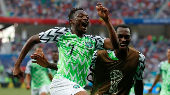 Ahmed Musa celebrates after scoring his second goal of the match against Iceland.
