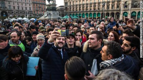 Matteo Salvini takes a selfie after an election campaign rally at Duomo Square in Milan, Italy, on February 24.