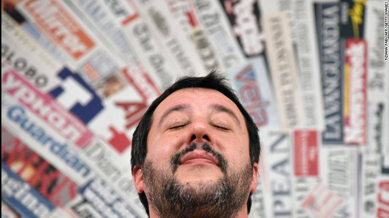 "Leader of the far-right League (Lega Nord) party, Matteo Salvini reacts during a meeting with the foreign press on March 14, 2018 in Rome. Anti-establishment party M5S leader on March 13 called on Italy's other political parties to listen to what he called a ""signal"" from voters and help him break the country's post-election political deadlock, but neither League leader Matteo Salvini nor the centre-left Democratic Party (PD) have budged since the vote. / AFP PHOTO / TIZIANA FABI        (Photo credit should read TIZIANA FABI/AFP/Getty Images)"