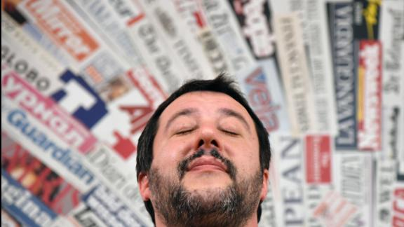 Leader of the far-right League (Lega Nord) party, Matteo Salvini reacts during a meeting with the foreign press on March 14, 2018 in Rome. Anti-establishment party M5S leader on March 13 called on Italy