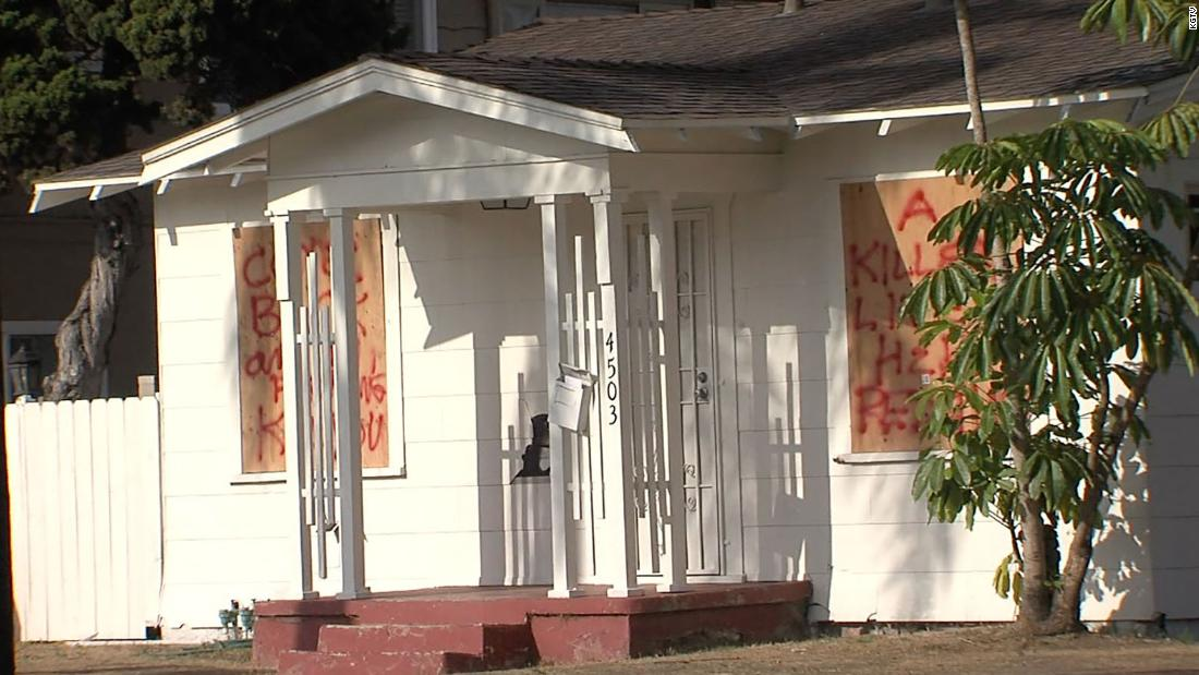Retired Marine spray paints warning on home after attack