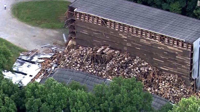 This aerial shot shows the scattered barrels after the collapse.