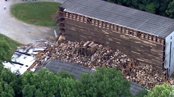 Half the building was still intact after the collapse in Bardstown.