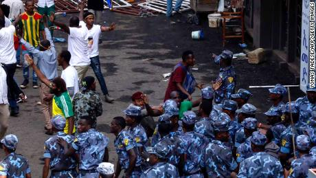 Ethiopian security forces intervene on Meskel Square in Addis Ababa on Saturday where a blast killed several people during a rally called by the Prime Minister Abiy Ahmed.