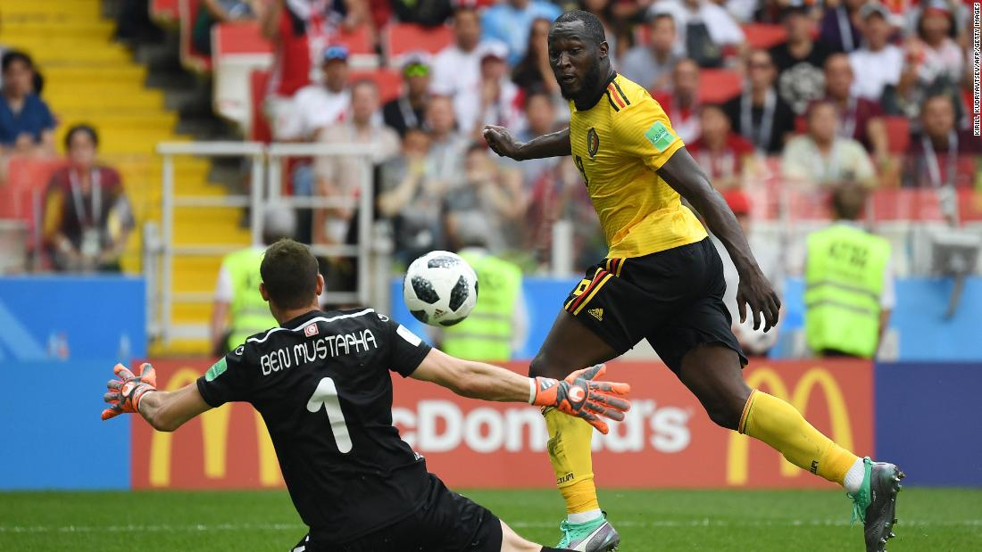 Belgium's Romelu Lukaku scores against Tunisia on Saturday, June 23.