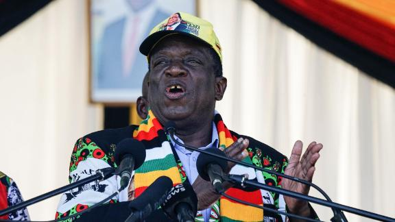 Zimbabwean President Emmerson Mnangagwa at Saturday