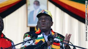 Zimbabwean President Emmerson Mnangagwa at Saturday's rally.