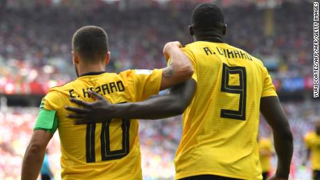 Belgium's forward Eden Hazard celebrates his second goal with Belgium's forward Romelu Lukaku during the Russia 2018 World Cup Group G football match between Belgium and Tunisia at the Spartak Stadium in Moscow on June 23, 2018. (Photo by Yuri CORTEZ / AFP) / RESTRICTED TO EDITORIAL USE - NO MOBILE PUSH ALERTS/DOWNLOADS        (Photo credit should read YURI CORTEZ/AFP/Getty Images)