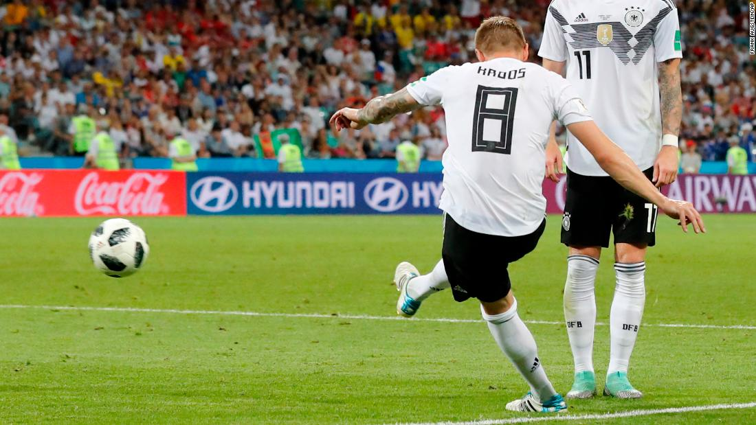 Toni Kroos scores the winning goal in the match against Sweden. Germany won 2-1.