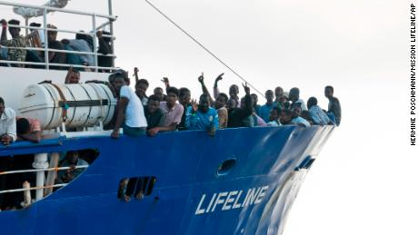 The migrants were rescued by the Lifeline last Thursday.