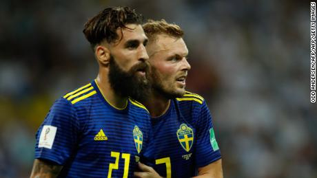 Sweden's midfielder Jimmy Durmaz (L) and Sweden's midfielder Sebastian Larsson (R) react at the end of the Russia 2018 World Cup Group F football match between Germany and Sweden at the Fisht Stadium in Sochi on June 23, 2018. (Photo by Odd ANDERSEN / AFP) / RESTRICTED TO EDITORIAL USE - NO MOBILE PUSH ALERTS/DOWNLOADS        (Photo credit should read ODD ANDERSEN/AFP/Getty Images)