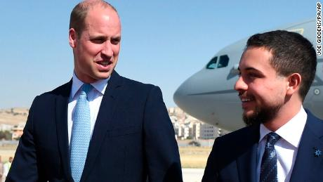 Duke of Cambridge Middle East tour Day 1. The Duke of Cambridge, with the Crown Prince of Jordan (right), after arriving at Marka Airport, Amman, Jordan at the start of his Middle East tour. Picture date: Sunday June 24, 2018. William's five-day tour of the region is his most high-profile foreign trip and the first official visit to Israel and the Occupied Palestinian Territories by a member of the monarchy on behalf of the Government. See PA story ROYAL William. Photo credit should read: Joe Giddens/PA Wire URN:37180744 (Press Association via AP Images)