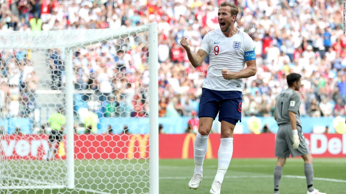 English striker Harry Kane celebrates after scoring a penalty in the 6-1 rout of Panama on Sunday. Kane finished with a hat trick.