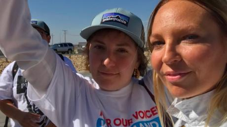 Celebrities Lena Dunham and Sia joined a protest against the Trump administration's immigration policies in Tornillo, Texas on June 24, 2018.