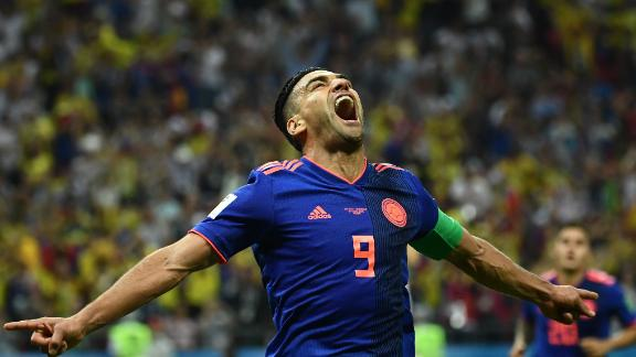 Colombian forward Falcao celebrates after scoring against Poland on June 24. Colombia won 3-0.