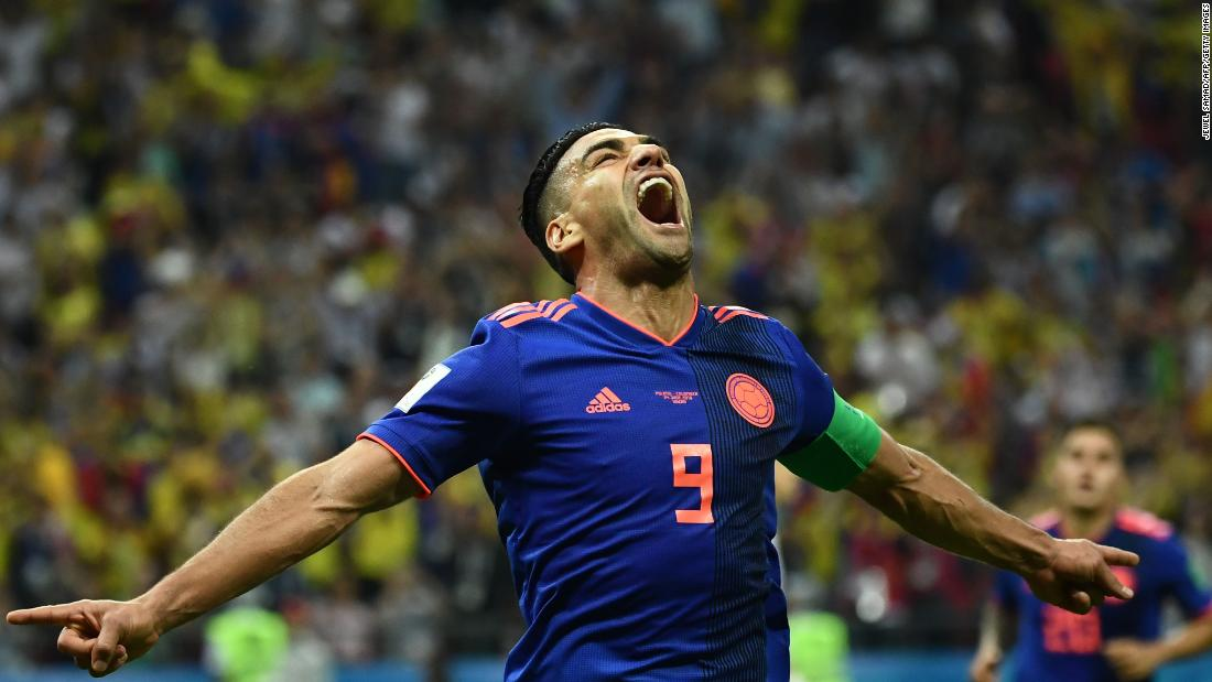 Colombian forward Falcao celebrates after scoring against Poland on Sunday, June 24. Colombia won 3-0.