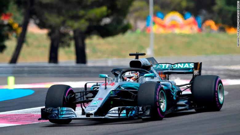 Lewis Hamilton drives ahead of the Formula One Grand Prix de France at the Circuit Paul Ricard.