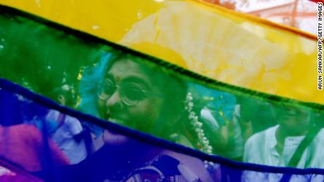 LGBT are flown during a gay pride parade in Chennai on June 24, 2018.