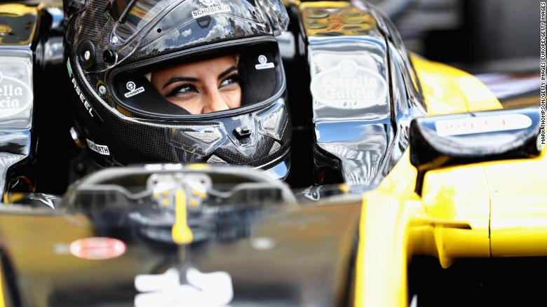 Aseel Al-Hamad of Saudi Arabia prepares to the 2012 Renault F1 car on track before the Formula One Grand Prix of France at Circuit Paul Ricard.