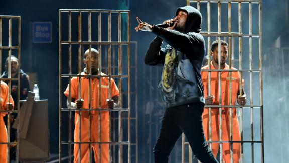 Meek Mill performs onstage at the 2018 BET Awards at Microsoft Theater on Sunday in Los Angeles.