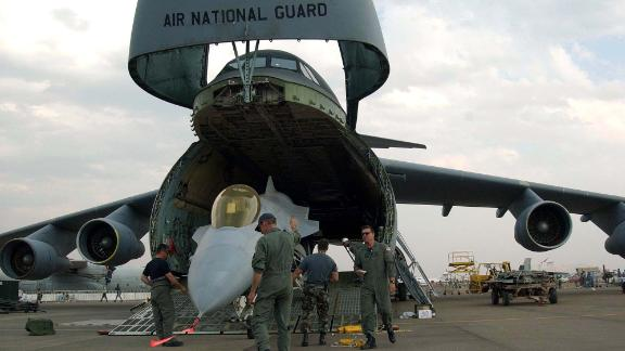 Can the C-5 carry an F-16 Fighting Falcon fighter jet? Yep.