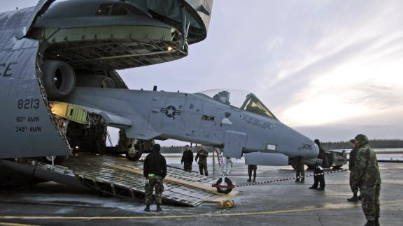The C-5 can haul an Air Force A-10 Thunderbolt II attack jet with its wings removed, like this one being loaded at Eielson Air Force Base in Alaska for transport to Georgia.