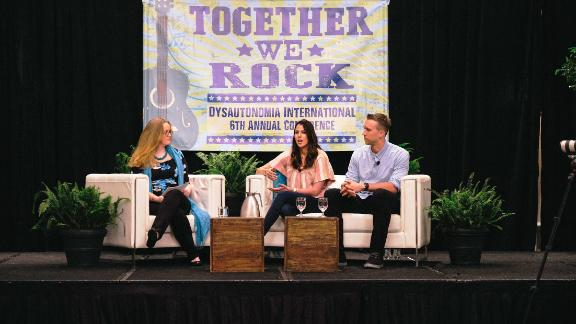 Tori and Nick Foles, right, spoke about POTS at a conference this month.
