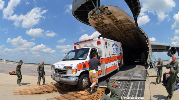 This ambulance -- also bound for Nicaragua -- was loaded on to a C-5 at Joint Base Charleston, South Carolina.