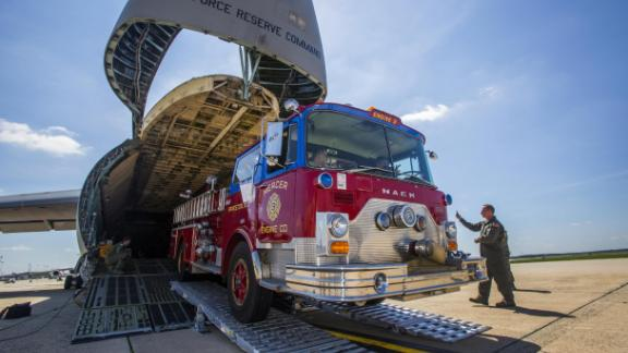 A donated fire truck was the cargo for this C-5B Galaxy at Joint Base McGuire-Dix-Lakehurst, New Jersey, heading to Nicaragua to help volunteer firefighters.
