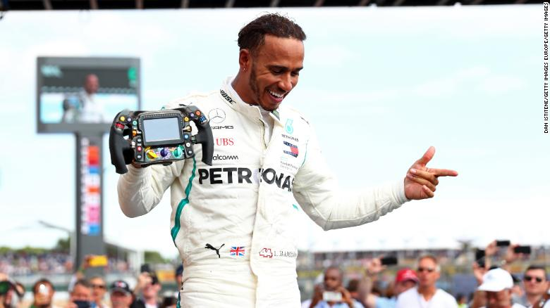 LE CASTELLET, FRANCE - JUNE 24:  Race winner Lewis Hamilton of Great Britain and Mercedes GP celebrates in parc ferme during the Formula One Grand Prix of France at Circuit Paul Ricard on June 24, 2018 in Le Castellet, France.  (Photo by Dan Istitene/Getty Images)
