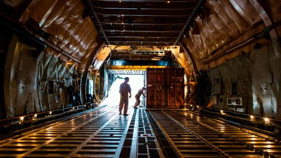 The cargo hold of the C-5 is 19 feet wide and 143 feel long -- longer than the first flight of the Wright brothers in 1903.