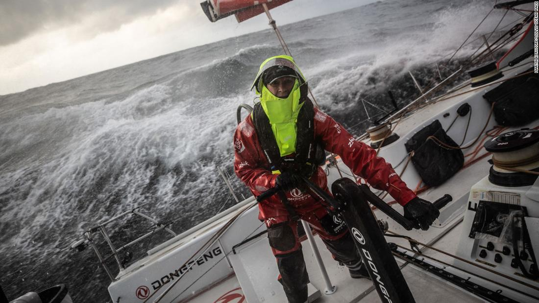 The Volvo Ocean Race is a grueling 45,000-mile race around the world through some of the fiercest seas on the planet.  Carolijn Brouwer (pictured) braves the elements on board DongFeng Race Team.