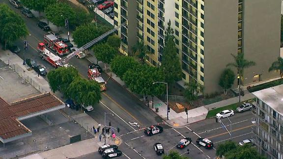A Long Beach firefighter was killed in a shooting at a senior residential facility.
