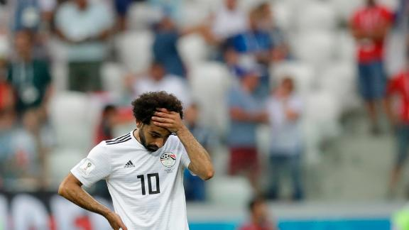 Egyptian star Mohamed Salah reacts after Saudi Arabia