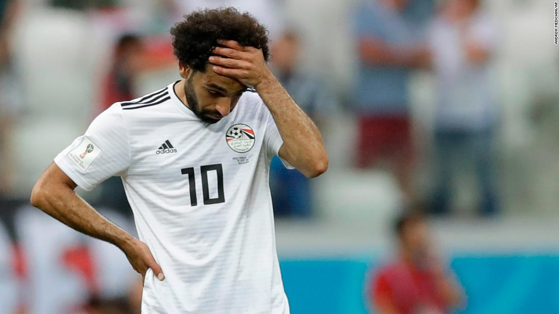 Egyptian star Mohamed Salah reacts after Saudi Arabia's winning goal in second-half stoppage time on Monday. Egypt lost all three of its matches at this World Cup.