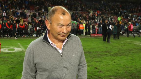 England coach Eddie Jones is all smiles following the side's first Test win in Cape Town against South Africa. England won 25-10 but lost the series 2-1 with the 2019 World Cup looming.