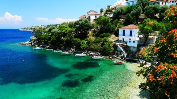 Greece, Ionian: With sun-baked beaches, turquoise waters, olive groves, deserted bays, rustic harbors with white-washed houses and spilling bougainvillea, the Greek islands provide the perfect canvas for a sailing odyssey. Kioni (pictured) is a charming town in the Ionian.