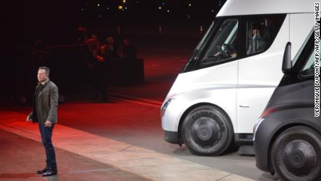 Tesla CEO Elon Musk unveils the Tesla Semi in November 2017 in Hawthorne, California.