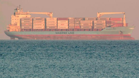 The Danish commercial liner Alexander Maersk sits off Sicily's coast on Monday, June 25.